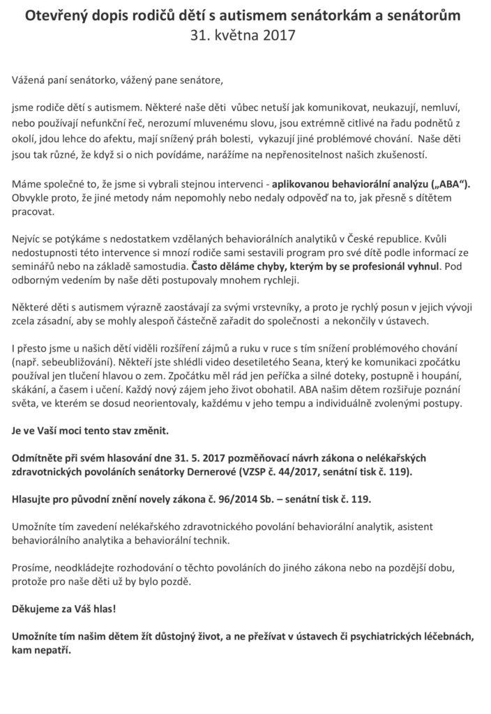 Otevřený dopis Senátu od auti dětí a rodičů 1