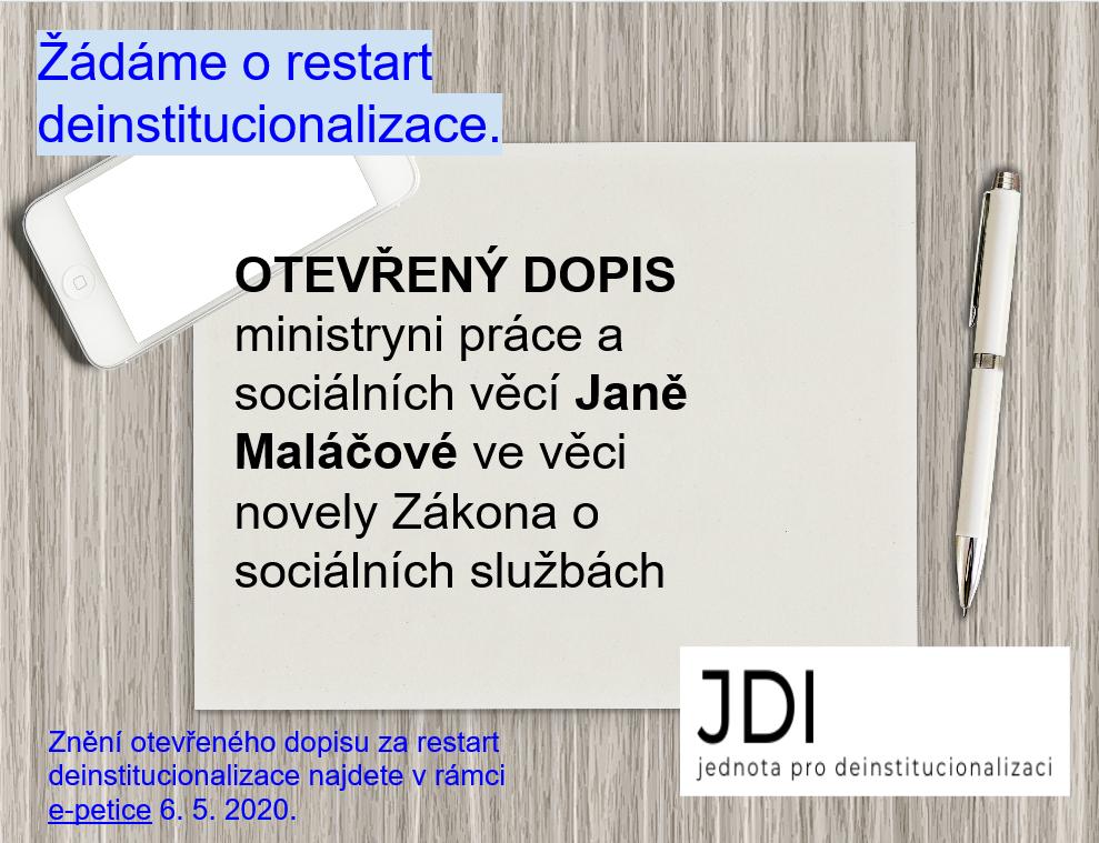 Otevřený dopis ministryni práce a sociálních věcí Janě Maláčové ve věci novely Zákona o sociálních službách 1