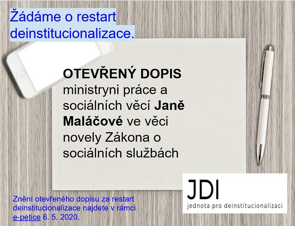 Otevřený dopis ministryni práce a sociálních věcí Janě Maláčové ve věci novely Zákona o sociálních službách